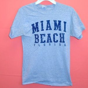 Miami Beach Florida Gray Blue Tee Shirt FL